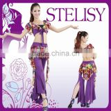 STELISY cheap adult gorgeous graceful purple top and pants practice dresses for belly dancing