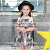 2017 kids summer clothes off shoulder plaid baby dress wholesale western style girl child dress