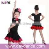Modern Girls Kids Latin Dance Wear Sexy Cold Shoulders Flamenco Dress Black Lace Sleeve Dance Costumes For Children