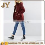 China Wholesale Girls' Red Padded Short Coats with Faux Fur Trim JYABF005 OEM Service