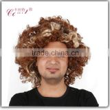 afro short kinky curly synthetic wigs for black men blonde afro wig