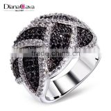 Exclusive Design Black & White Contrast Jewelry White Gold Cocktail Party CZ Ring