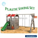 Factory wholesale cubby house with swing JT-11802B children garden plastic swing and slide set                                                                         Quality Choice