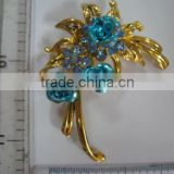 RHINESTONE BROOCH PIN #525, METAL RHINESTONE PINS BLUE/PURPLE/ROSE/RED/CLEAR/YELLOW COLOR