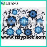 heat transfer film for plastic, iml, in blue and black flower, 23 micrometer