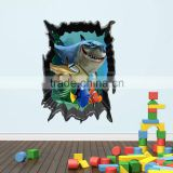 Wonderful Sea world Shark fish removable 3d vinyl wall stickers for Kids Room home decor bathroom decor stickers for nursery