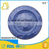 "8.5"" high quality heavy weight deep blue melamine rustic round plates plastic"