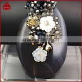 Fashion spring feeling wire wrap natural stone oval onyx agate slice & white shell flower crystal beads brooch jewelry
