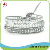Fashion jewelry gemstone blue jade leather bracelet hot sales                                                                                                         Supplier's Choice