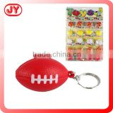 Custom fashion PU keychain promotion rugby keychain American stress ball shape with EN71
