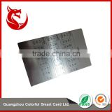 Luxury polished best sell sheet silver calendar metal cards