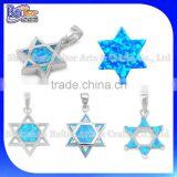 Opal Jewelry Factory Custom Wholesale 925 Sterling Silver Pure Synethic Opal Star Of David Shape Pendant Star Of David Pendant