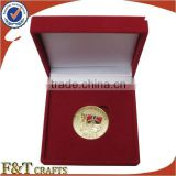 high end decorative best christmas gift set velvet gold sovereign coin box for business partner