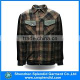 china imported clothes custom your logo button up plaid jacket