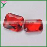 Good Polishing red Chamfer rectangle octangle shape cut decorate glass gemstone for shoes