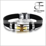 Charm Rubber Silicone Chain Gold Cross wristband bracelet for mens with stainless steel buckle                                                                         Quality Choice
