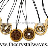 Wholesale Wooden Chakra Pendant 8 Pcs Disc Set With flower of life