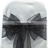 BLACK ORGANZA SASHES CHAIR BOW SASH WEDDING SASHES