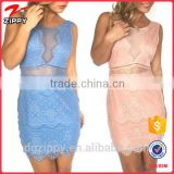 Wholesale Beautiful Fashion Mesh Neckline Lace Dress Designs