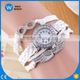 2016 Crazy sale Women Leather Vintage Bracelet Watch Wristwatches Angel wings Pandent Retro Watch VW014