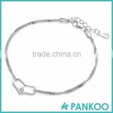 fancy Genuine Pure silver heart jewelry bracelet