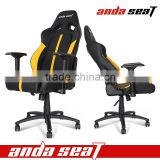 New design Racing Office Chair Black/Yellow Leather with Height Adjustment Mechanisms AD7