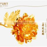 999 gold leaf brightly shining peony flower with beautiful gift box