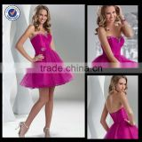 New Design Wholesale Custom Made Mini Sparkly Sweetheart Fuchsia Satin Sequined Cocktail Dress With Bandages C0085