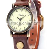 Vintage Roman Round Dial Lady Women Quartz Brown Leather Band Bronze Case Bracelet Watch