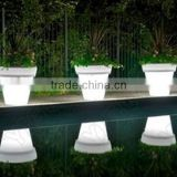 Wholesale Big Outdoor LED Flower Pots/PE plastic LED flower planter pot lighting with IR remote stylem