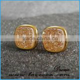2017 Fashion Jewelry Wholesale Earring Natural Small Square 8mm Agate Druzy Stud Earrings Gold Plated for Women