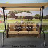 outdoor furniture in synthetic rattan material swing woven for 3-seat in China (Foshan )