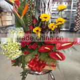 Artificial flower basket decoration, Show for wedding place, Shop open ceremony with PE material