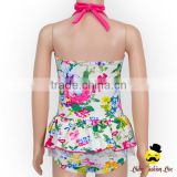 Hot Sale Kids Halter Floral Printed Flower One Piece Little Girl Modeling Swimwear Dress Beach Clothes