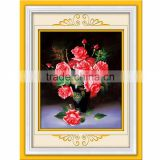 Red Flower Pattern Embroidery Diamond &Rhinestone Painting DIY Kit Cross Stitch For Living Room