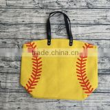 wholesale printed softball baseball canvas cotton personalized totes bag for moms football bags with leather handles
