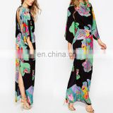 Top sell high quality floral printed kaftan dress