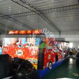 inflatable Fire truck obstacle course for kids & adults, inflatable obstacle course for outdoor games