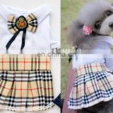 2015 British style striped grid dog skirt/ pants for dog clothes