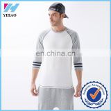 Yihao 2015 fashion baseball 3 4 sleeve t-shirt wholesale custom men sport baseball 3 4 sleeve t-shirt printing plain gym t-shirt