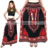 Dashiki African Skirt Cotton Mexican Hippie Tribal Ethic Boho Black Cotton Mexican Hippie shirt wrap with elastic Skirt African
