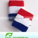 terry blue white red striped wrist France country flag sweatband