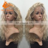 8A Grade Natural Wig With Transparent Lace Virgin Brazilian Human Hair Blonde Loose Curly Wig With Baby Hair For White Women