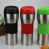 Double wall stainless steel travel car mug with silicon band and press button lid