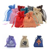 wholesale custom printing small cotton jewelry pouch woven jewelry bag with custom logo