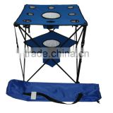 camping folding table with cooler bag and cup holder