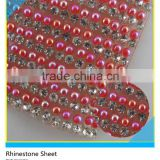Iron on Crystal Rhinestone Mesh Red Beads Mix Crystal Rhinestone Sheet for Wedding Dress Decoration
