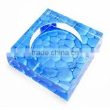 Promotional blue the Water Cube crystal ashtray