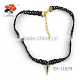 Luxury statement fashion charm Sharp triangle jewelry hot black leather, latest design necklace