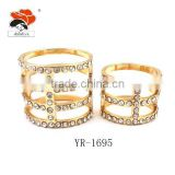 wedding bling multi layer pave crystal love couple ring jewelry wholesale